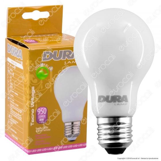 Duralamp Lampadina LED E27 8W Bulb A60 Milky Filamento Dimmerabile - mod. LFA60827-OD