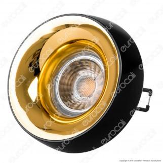 Kanlux ELNIS L Portafaretto Rotondo da Incasso Colore Nero e Oro per Lampadine GU10 e GU5.3 - mod. 27810