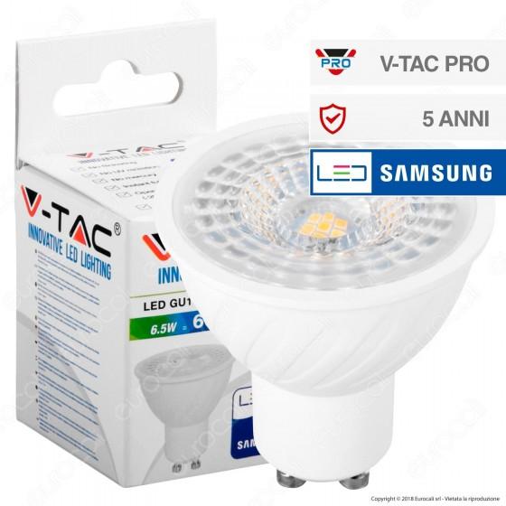 V-Tac PRO VT-247 Lampadina LED GU10 6,5W Faretto Spotlight Chip Samsung - SKU 192 / 193 / 194