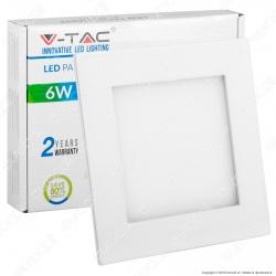 V-Tac VT-607 SQ Pannello LED Quadrato 6W SMD da Incasso con Driver - SKU 4863 / 4864 / 4865