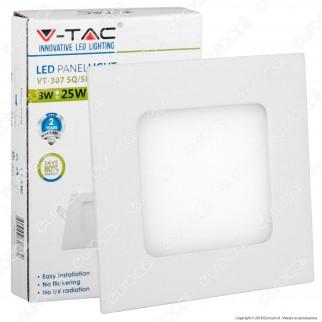 V-Tac VT-307SQ Pannello LED Quadrato 3W SMD da Incasso con Driver - SKU 6295 / 6296 / 6297