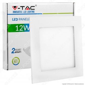 V-Tac VT-1207 SQ Pannello LED Quadrato 12W SMD da Incasso con Driver - SKU 4866 / 4867 / 4868