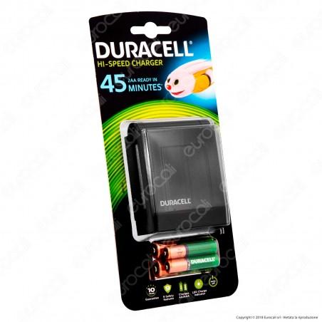 Duracell 45 Minuti Charger Caricabatterie CEF27 + 2 pile AA 1300 mAh e 2 pile AAA 750 mAh