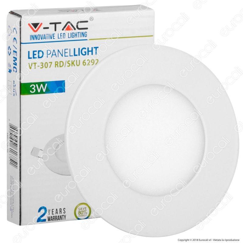 PANNELLO LED V-TAC VTAC FARETTO DA INCASSO DA 3W 6W 12W 18W 24W ROTONDO SLIM