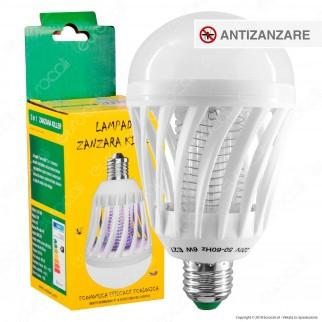 Zanzara Killer 2in1 Lampadina LED E27 7W Bulb con Luce Bianca + Luce Blu Attira ed Elimina Zanzare