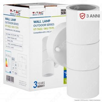 V-Tac VT-7622 Portalampada Doppio Wall Light da Muro per 2 Lampadine GU10 IP44 - SKU 7570