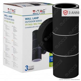V-Tac VT-7622 Portalampada Doppio Wall Light da Muro per 2 Lampadine GU10 IP44 - SKU 7569