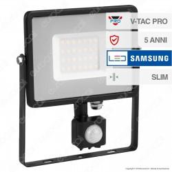V-Tac PRO VT-50-S Faretto LED 50W Ultra Sottile Slim Chip Samsung con Sensore Colore Nero - SKU 461 / 462