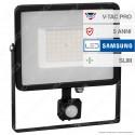 V-Tac PRO VT-50-S Faretto LED 50W Ultra Sottile Slim Chip Samsung con Sensore Colore Nero - SKU 469 / 470 / 471