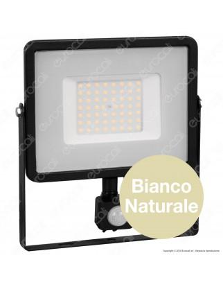 V-Tac PRO VT-50-S Faretto LED 50W Ultra Sottile Slim Chip Samsung con Sensore Colore Nero - SKU 470