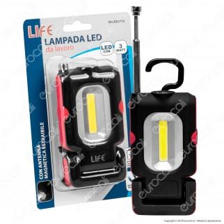 Life Lampada LED da Lavoro 3W Multifunzione con Magneti - mod. 39.LED3103