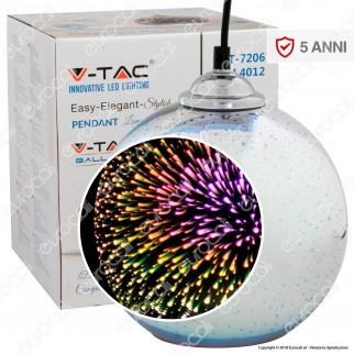 V-Tac VT-7206 Lampadario a Sospensione in Vetro Effetto 3D con Portalampada per Lampadine E27 - SKU 40121