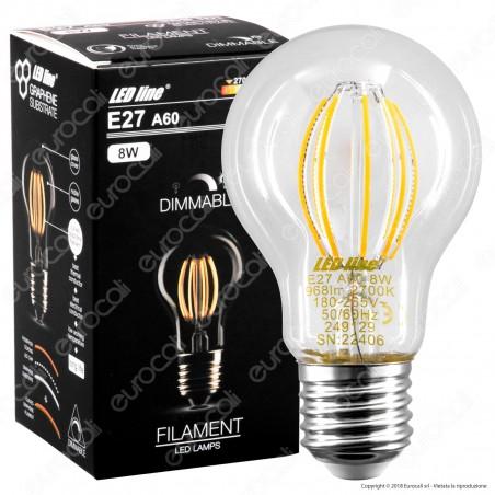 LED Line Lampadina LED E27 8W Bulb A60 Filamento Grafene Dimmerabile - mod. 249129
