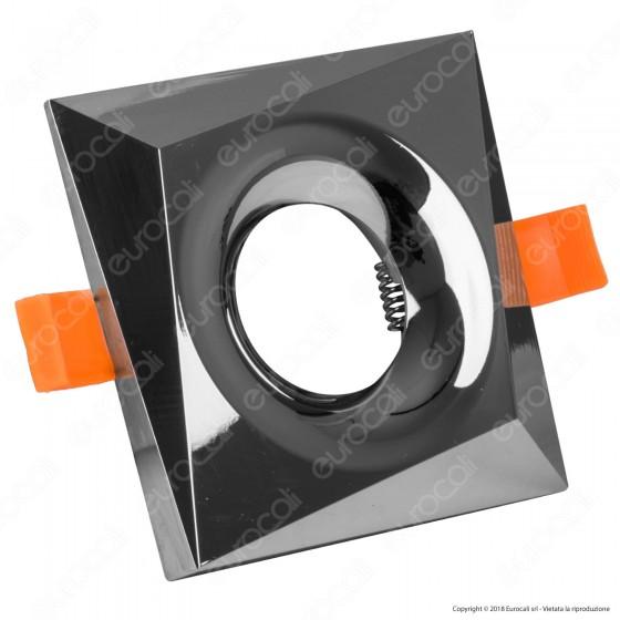 Kanlux BONIS DSL Portafaretto Quadrato da Incasso Colore Cromo per Lampadine GU10 e GU5.3 - mod. 28702
