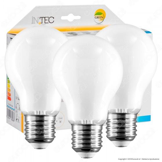 Fan Europe Intec Light Confezione Risparmio 3 Lampadine LED E27 8W Filament White Bulb A60