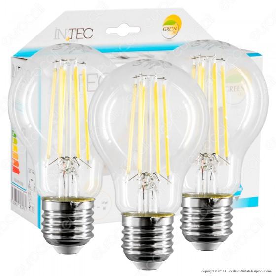 Fan Europe Intec Light Confezione Risparmio 3 Lampadine LED E27 8W Filament Bulb A60
