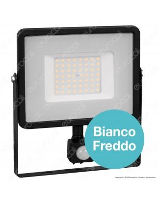 V-Tac PRO VT-50-S Faretto LED 50W Ultra Sottile Slim Chip Samsung con Sensore Colore Nero - SKU 470 / 471