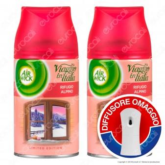 2 Ricariche Air Wick Pure Rifugio Alpino + Diffusore Freshmatic Autospray