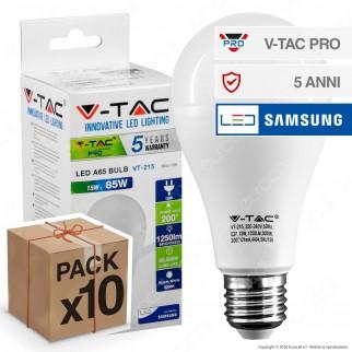 10 Lampadine LED V-Tac PRO VT-215 E27 15W Bulb A66 Chip Samsung - Pack Risparmio