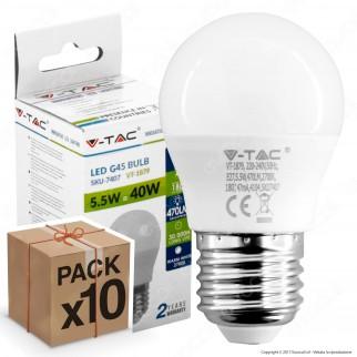 10 Lampadine LED V-Tac VT-1879 E27 5,5W MiniGlobo G45 - Pack Risparmio