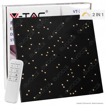 V-Tac VT-7128 Plafoniera LED 8W Forma Quadrata di Colore Nero Effetto Cielo Stellato con Telecomando - SKU 40291