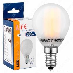 Life Serie 45GT Lampadina LED E14 4W MiniGlobo Filamento in Vetro Frost P45 - mod. 39.920256CS