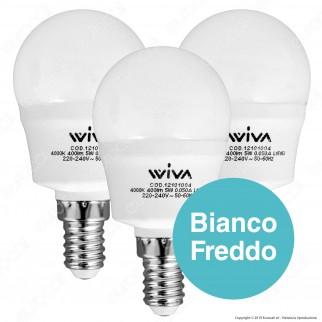 Wiva Tripack Lampadina LED E14 5W MiniGlobo P45 - Confezione 3 Lampadine ⭐️PROMO 3X2⭐️ - mod. 12101000 / 12101004 / 12101008
