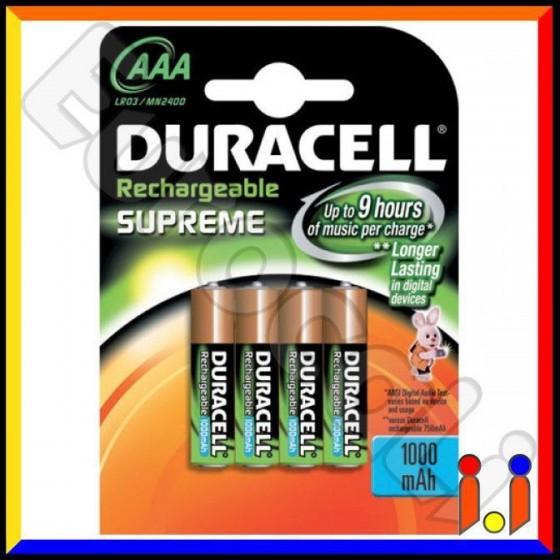 Duracell Supreme 1000mAh Pile Ricaricabili Ministilo AAA - Blister 4 Batterie
