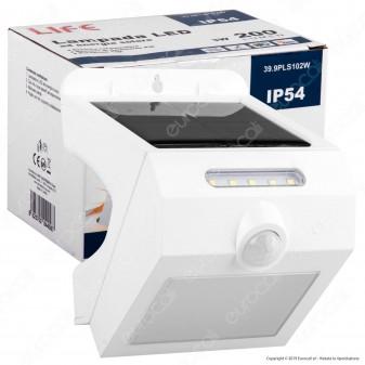 Life Lampada da Muro LED 3W con Pannello Solare e Sensore Colore Bianco - mod. 39.9PLS102W