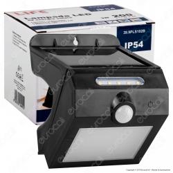 Life Lampada da Muro LED 3W con Pannello Solare e Sensore Colore Nero