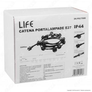 Life Catenaria 4 metri per 12 Lampadine LED E27 per Esterno - mod. 39.PS27500