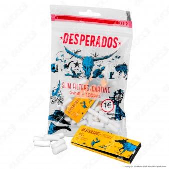 Desperados Slim 6mm - Bustina da 100 Filtri + 50 Cartine Corte