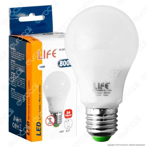 Life Lampadina LED E27 10W Bulb A60 24V AC/DC - mod. 39.920360C24