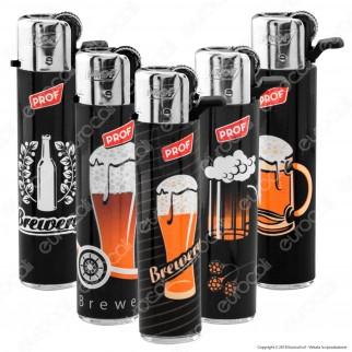 Prof Round Flint Accendino Maxi Fantasia Beer - Serie di 5 Accendini