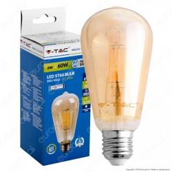 V-Tac VT-1966 Lampadina LED E27 6W Bulb ST64 Filamento Ambrata - SKU 4362