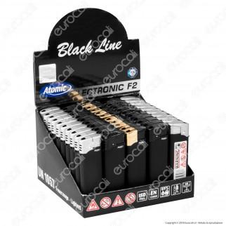 Atomic Electronic F2 Black Line Accendino Maxi Elettronico Ricaricabile - Box da 50 Accendini