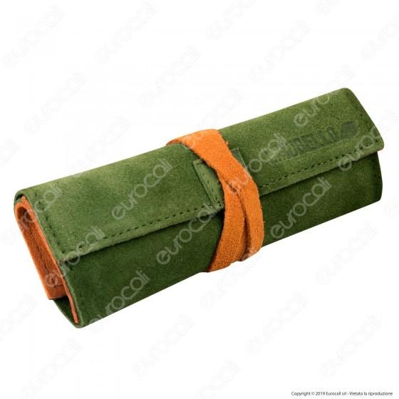 Il Morello Large Portatabacco in Vera Pelle Scamosciata Verde e Arancione
