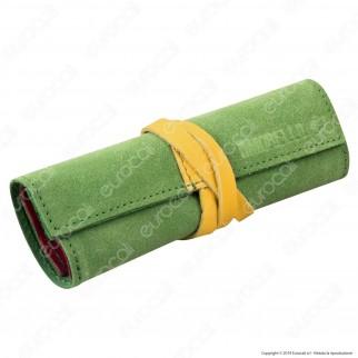 Il Morello Large Portatabacco in Vera Pelle Scamosciata Verde e Rossa con Inserti in Pelle Gialla
