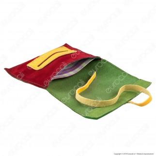 Il Morello Large Portatabacco in Vera Pelle Scamosciata Verde e Rossa cno Inserti in Pelle Gialla