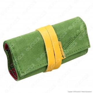 Il Morello Pocket Portatabacco in Vera Pelle Scamosciata Verde e Rossa con Inserti in Pelle Gialla