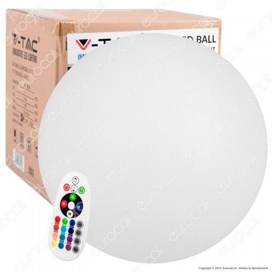 V-Tac VT-7803 Sfera Multicolor LED RGB+W 1W Ricaricabile con Telecomando IP 65 - SKU 40161