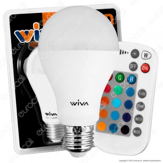 Wiva Lampadina LED E27 10W Bulb A65 RGB+W con Telecomando