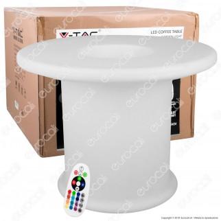 V-Tac VT-7812 Coffee Table Multicolor LED RGB 6W Ricaricabile con Telecomando IP54 - SKU 40251