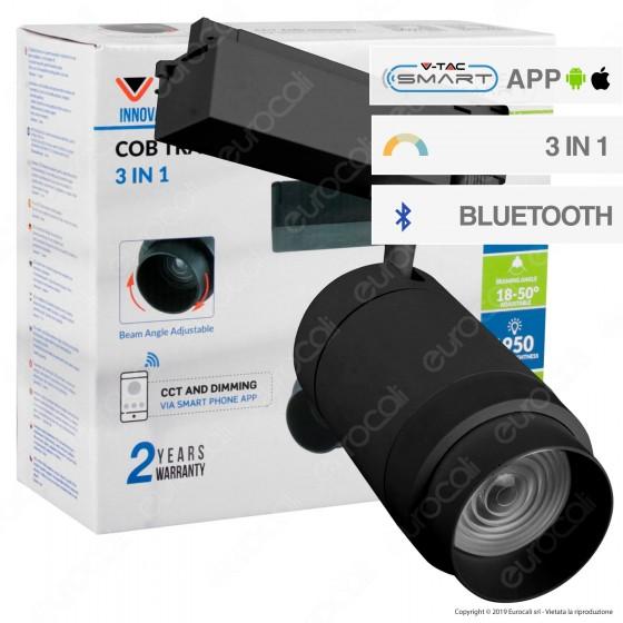 V-Tac VT-7735 Track Light LED COB 35W Colore Nero 3 in 1 Dimmerabile Smart - SKU 1459