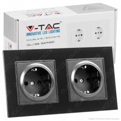 V-Tac VT-5811 Presa a Incasso Doppia Schuko Colore Nero Rivestimento in Vetro - SKU 8401
