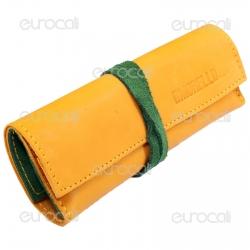 Il Morello Large Portatabacco in Vera Pelle Colore Giallo e Verde