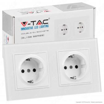 V-Tac VT-5811 Presa a Incasso Doppia Schuko Colore Bianco Rivestimento in Vetro - SKU 8402