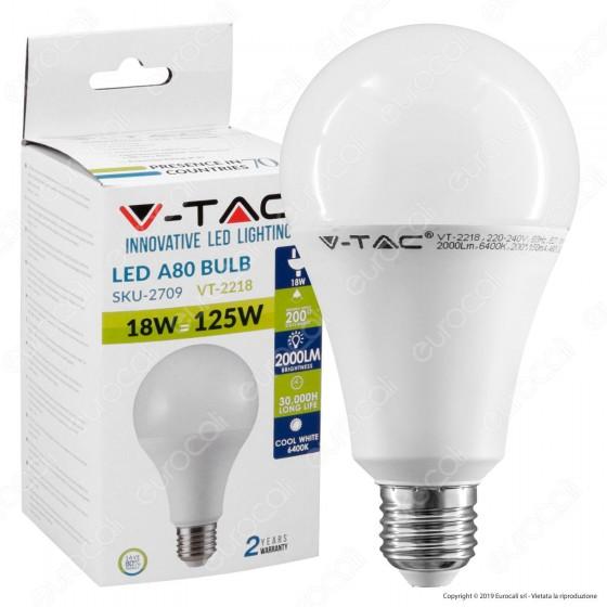 V-Tac VT-2218 Lampadina LED E27 18W Bulb A80 - SKU 2708 / 2709