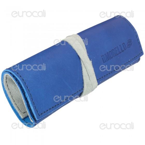 Il Morello Large Portatabacco in Vera Pelle Blu Scuro e Grigio