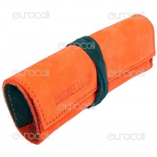 Il Morello Large Portatabacco in Vera Pelle Arancione e Verde Scuro